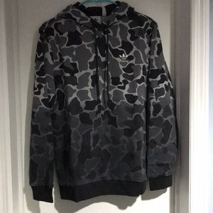 Brand New Adidas Black Camouflage Pullover Hoodie
